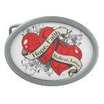Cardiovascular Disease Hope Faith Dual Hearts Oval Belt Buckle