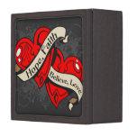Cardiovascular Disease Hope Faith Dual Hearts Premium Keepsake Box