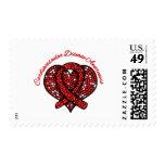 Cardiovascular Disease Mosaic Heart Ribbon Postage Stamp
