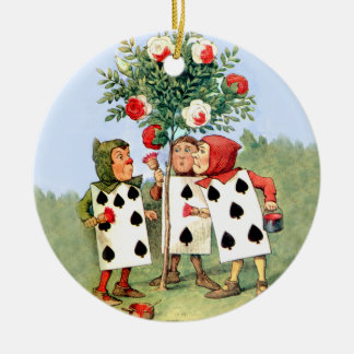 Cardmen Paint the Queen Roses in Wonderland Double-Sided Ceramic Round Christmas Ornament