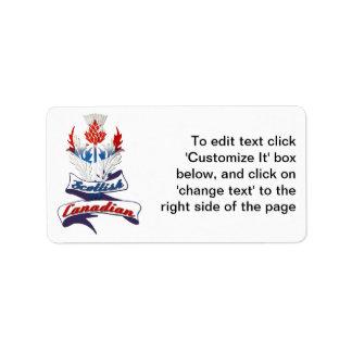 Cardo canadiense escocés etiqueta de dirección