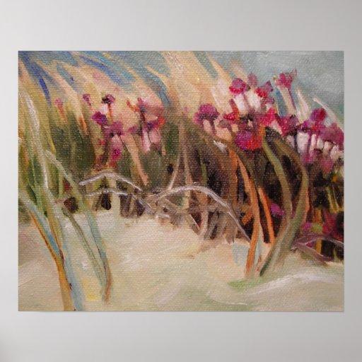 Cardo de la playa e hierba de la duna póster