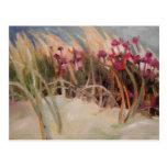 Cardo de la playa e hierba de la duna tarjeta postal