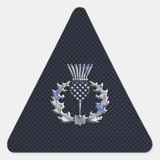 Cardo del escocés de la plata de la impresión de pegatina triangular