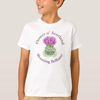 Cardo escocés brillante floreciente playera