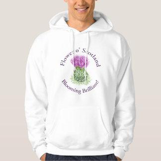Cardo escocés brillante floreciente sudadera con capucha