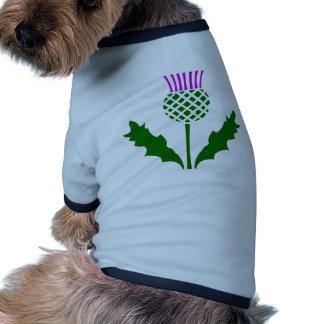 Cardo escocés camiseta con mangas para perro