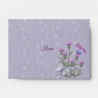 Cardo púrpura 2 florales sobres