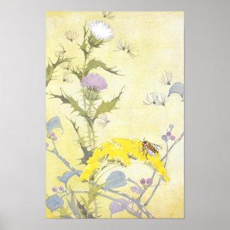 Cardo y abeja en vara de oro póster