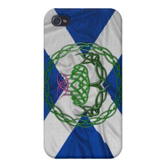 Cardo y bandera célticos del nudo iPhone 4/4S funda