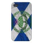 Cardo y bandera célticos del nudo iPhone 4 carcasa