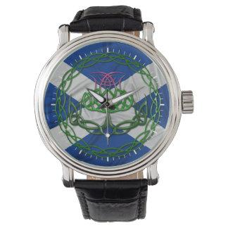 Cardo y bandera célticos del nudo relojes de pulsera