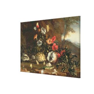 Cardos, flores, reptiles y mariposas por otra part impresión en lienzo
