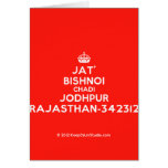 [Crown] jat' bishnoi chadi jodhpur rajasthan-342312  Cards