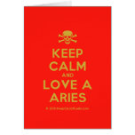 [Skull crossed bones] keep calm and love a aries  Cards