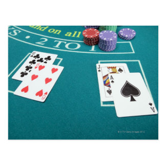 Cards and chips on betting table