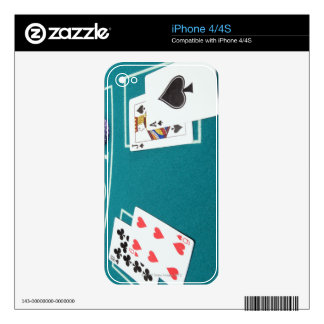 Cards and chips on betting table decals for the iPhone 4