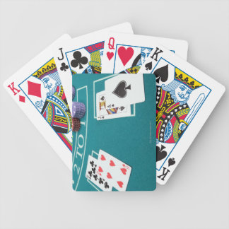 Cards and chips on betting table poker cards
