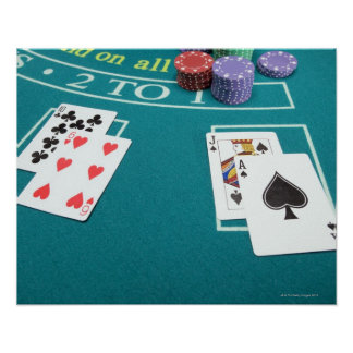 Cards and chips on betting table poster