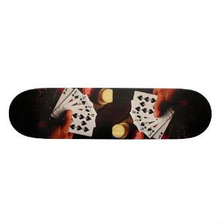 Cards and chips, still life skateboard decks