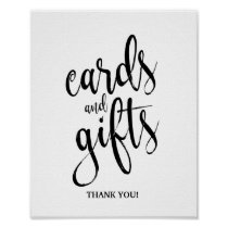 Cards and Gifts Black and White 8x10 Wedding Sign
