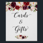 "Cards and Gifts | Burgundy Floral Wedding Sign<br><div class=""desc"">================= ABOUT THIS DESIGN ================= Cards and Gifts 