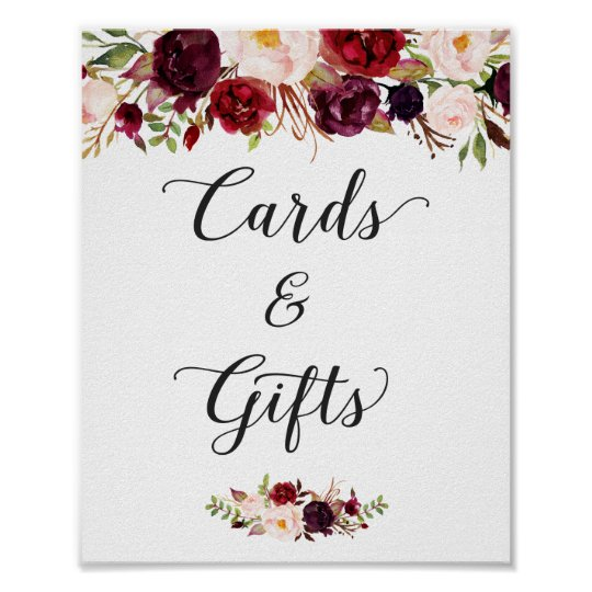 Cards and Gifts | Burgundy Floral Wedding Sign | Zazzle.com