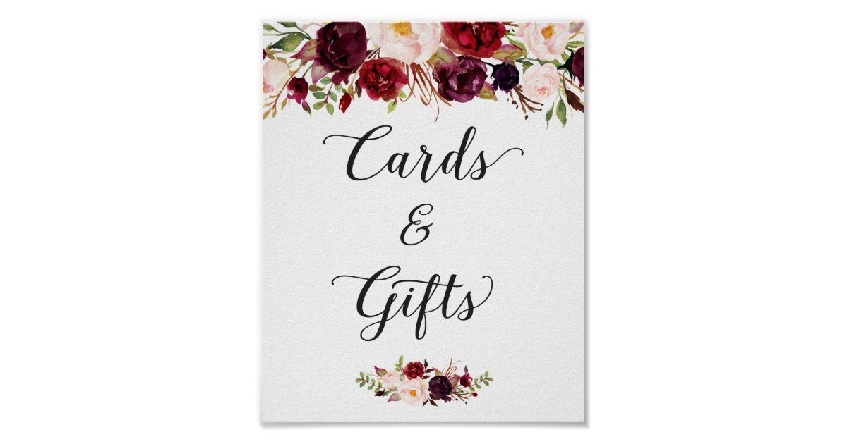 Cards And Gifts Burgundy Floral Wedding Sign Zazzle Com