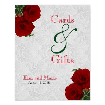 Art Themed Cards and Gifts - Deep Red Rose Wedding Poster