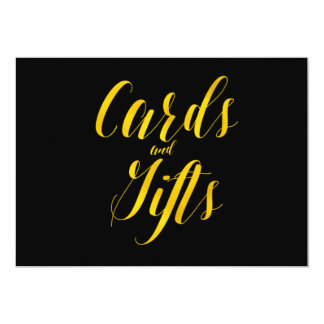 """Cards and Gifts"" Faux Gold Foil Chic Wedding Sign Card"