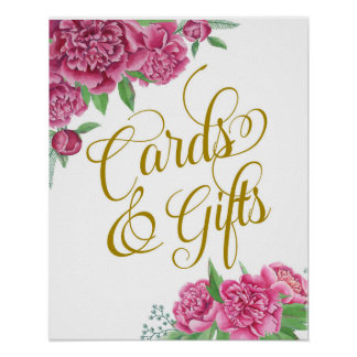 cards and gifts floral wedding peony sign