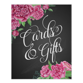 cards and gifts floral wedding peony sign poster