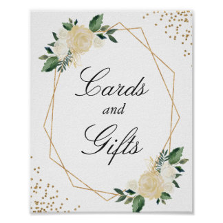 Cards and Gifts Modern Frame Gold Glitters Floral Poster