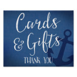 cards and gifts nautical wedding sign navy blue poster