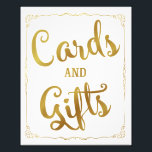 "cards and gifts party wedding sign gold<br><div class=""desc"">wedding favour sign</div>"