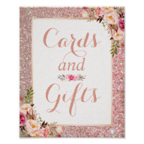 Cards and Gifts Rose Gold Glitter Floral Wedding Poster