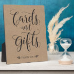 "Cards and Gifts Rustic Wedding Sign Plaque<br><div class=""desc"">This calligraphy cards and gifts sign is the perfect addition to your rustic,  vintage,  or country themed wedding ceremony/reception!</div>"