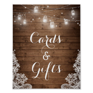 Cards and Gifts | Rustic Wood String Lights Poster