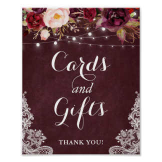 Cards and Gifts Sign | Burgundy Floral Lights Lace
