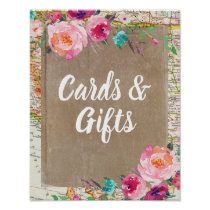 Cards and Gifts Sign Rustic Bridal Shower Poster