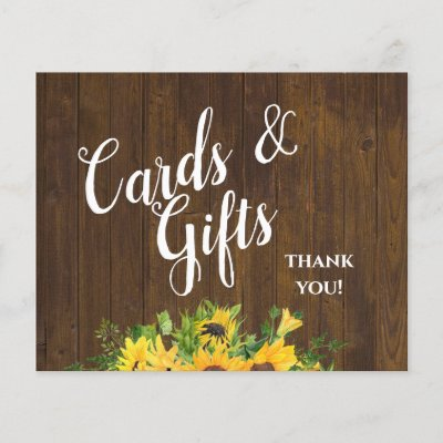 Cards and Gifts Thank You Rustic Wedding Sign