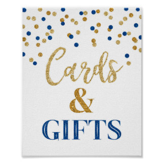 Cards and Gifts Wedding Sign Blue Gold Confetti