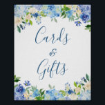 "Cards and Gifts Wedding Sign Blue Hydrangea Floral<br><div class=""desc"">Blue Hydrangea Floral 