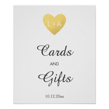 Valentines Themed Cards and gifts Wedding sign, faux gold heart Poster
