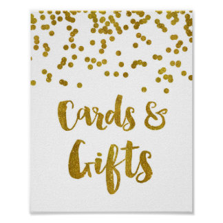 Cards and Gifts Wedding Sign Gold Confetti Poster