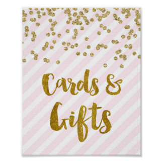 Cards and Gifts Wedding Sign Pink Gold Stripes Poster