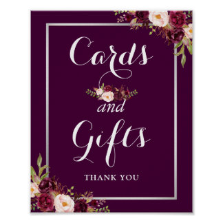 Cards and Gifts Wedding Sign Plum Purple Floral