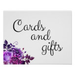 Cards And Gifts Wedding Sign Purple Flowers Poster at Zazzle