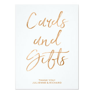 Cards and Gifts Wedding Sign | Stylish Gold Rose
