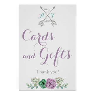 Cards and Gifts wedding signage bothanical flower Poster
